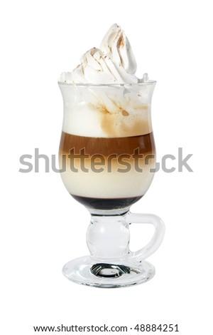 Isolated coffe with milk or Latte macchiatto - stock photo