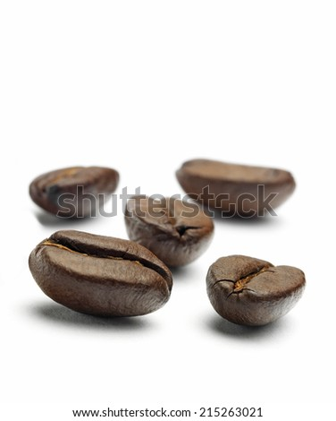 Isolated Coffee Beans - stock photo