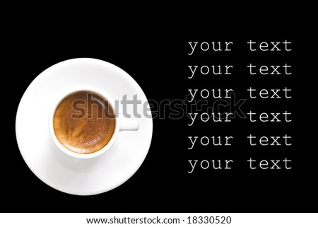 Isolated coffee cup on black background. - stock photo