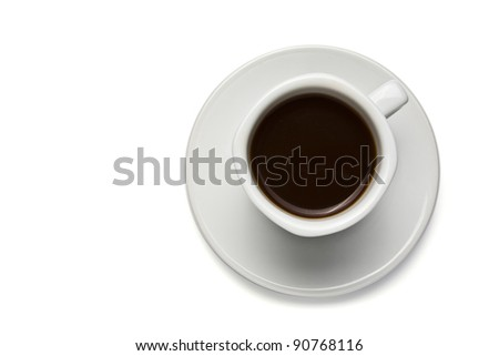 Isolated coffee cup on white background with black coffee