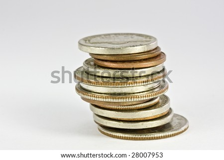 Isolated coins on a white background - stock photo