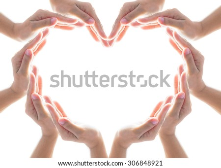 Isolated collaborative people hands grouped in heart shape form on white background: International cooperative, friendship, humanitarian and natural environment protection symbolic concept and idea - stock photo
