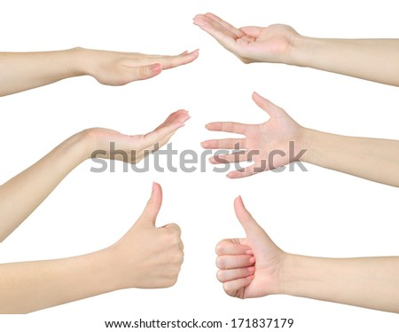 Isolated collage hands on white background