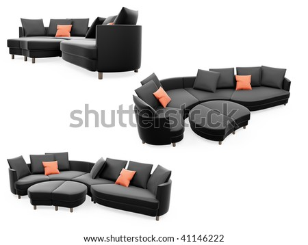 Isolated collage of sofa over white background