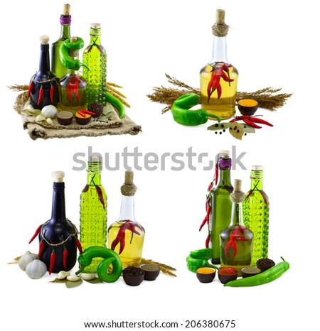 Isolated collection with spicy set - stock photo