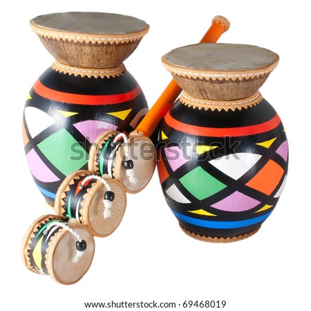 Isolated colored drums on a white background - stock photo