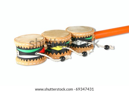 Isolated colored hand drums on a white background