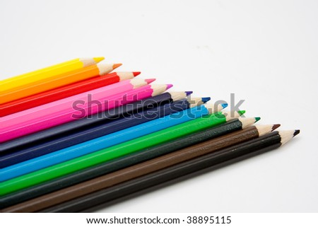 Isolated colored pencil arrangement