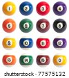 Isolated Colored Pool Balls. Numbers 1 to 15 and zero ball - stock photo