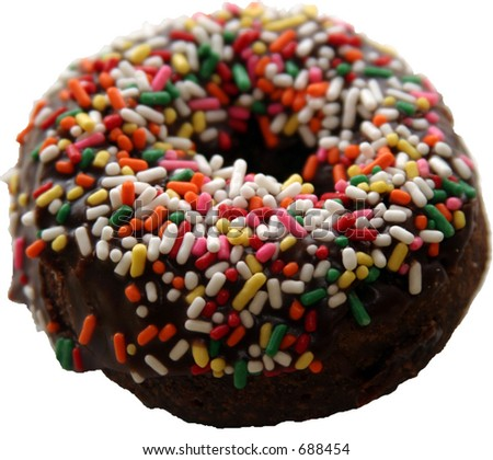 isolated colored sprinkled donut