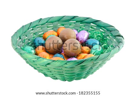 Isolated colorful chocolate eggs in a green basket