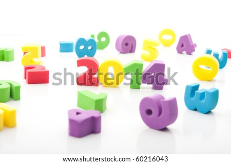 isolated colorful digits