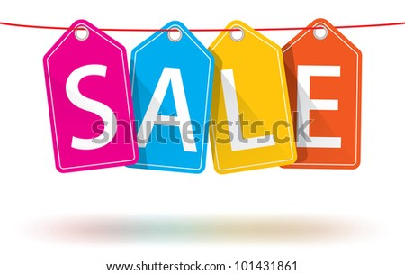 Isolated colorful hanging sales tags on a horizontal string with optional ground shadows