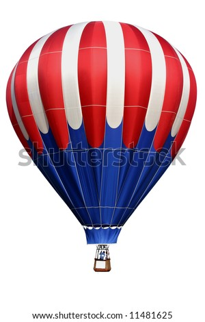 Isolated colorful, red white & blue, hot air balloon. - stock photo
