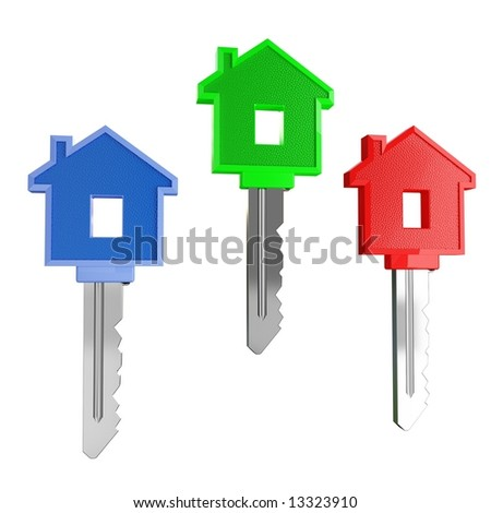 isolated colorfull house keys - stock photo