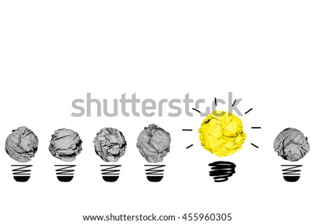Isolated Colour Crumpled Paper Light Bulb On and Off with White Background Creative Inspiration Concept Metaphor for Think Different Idea /Another Direction / Think Other Way - stock photo