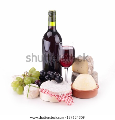 isolated composition with wine and cheese - stock photo