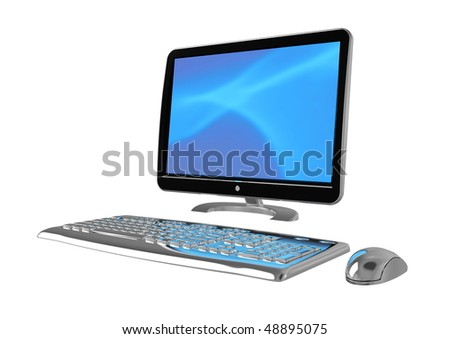 Isolated  computer setup with blue screen template in metallic and Hi-Tech Design - stock photo