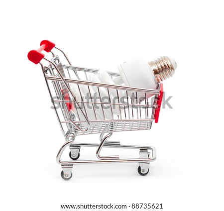 isolated concept of shopping cart with a big light bulb