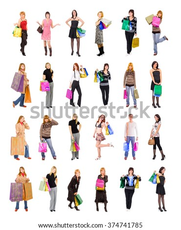Isolated Concept Women Shopping