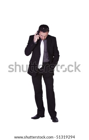 Isolated concerned businessman talking on the phone