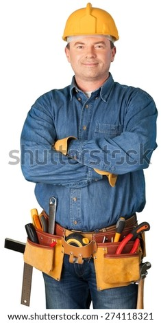 Isolated, Construction, Electrician. - stock photo