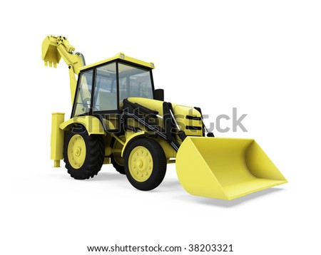 Isolated construction truck over white background