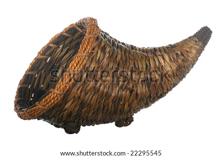 Isolated cornucopia on plain white background - stock photo