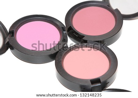 isolated  cosmetic powder in white background - stock photo