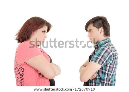 Isolated couple angry at each other - stock photo