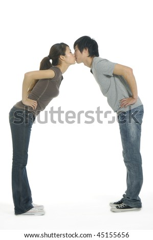 Isolated couple in love on white