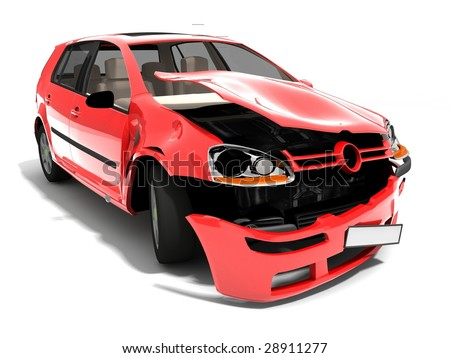 Isolated Crashed Car - stock photo