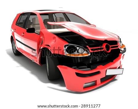 Isolated Crashed Car - stock photo