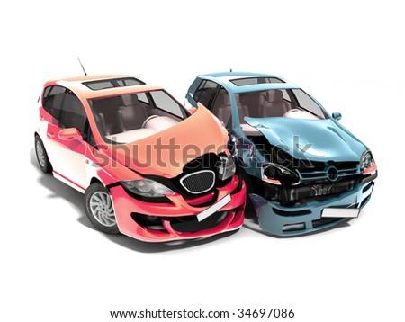 Isolated Crashed Cars - stock photo