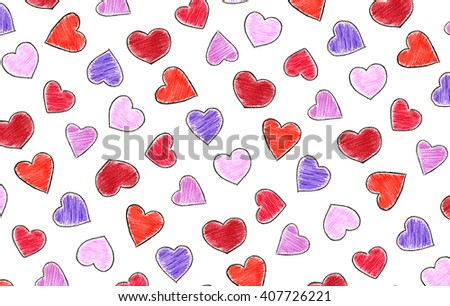 Isolated crayon hearts - stock photo