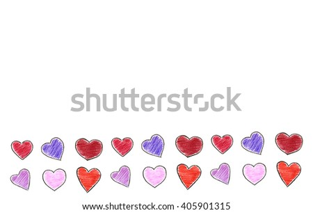 Isolated crayon hearts with space for any text - stock photo