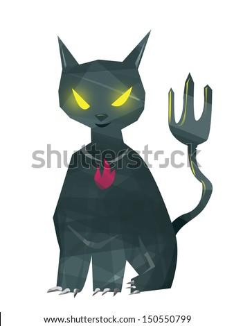 Isolated Creepy Black Cat Halloween Concept - stock photo