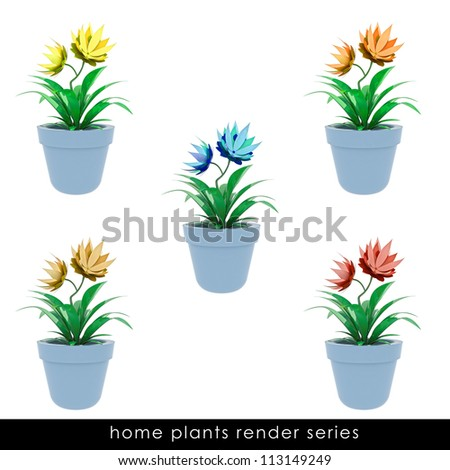 isolated cropped colorful houseplants  in chrome metallic flowerpot series design illustration