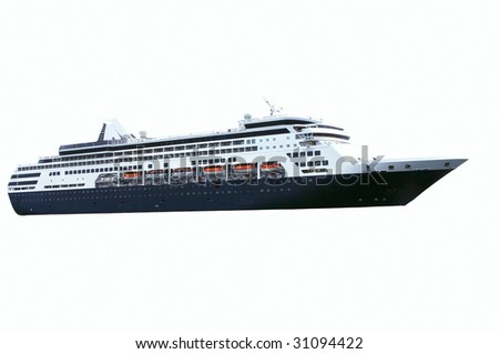 Isolated Cruise ship with blue hull color.