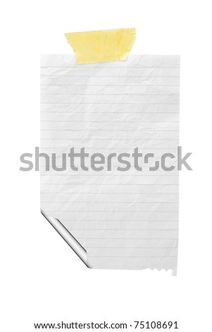 isolated crumple paper in the line with curled corner and sticky tape on a white background - stock photo
