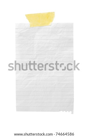 isolated crumple paper in the line with sticky tape on a white background - stock photo