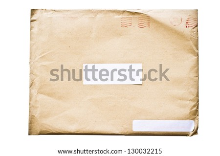 isolated crumpled envelope, with clipping path in jpg. - stock photo