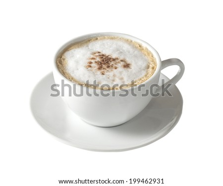 isolated cup of coffee - stock photo