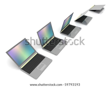 Isolated curved lineup of laptops next to each other