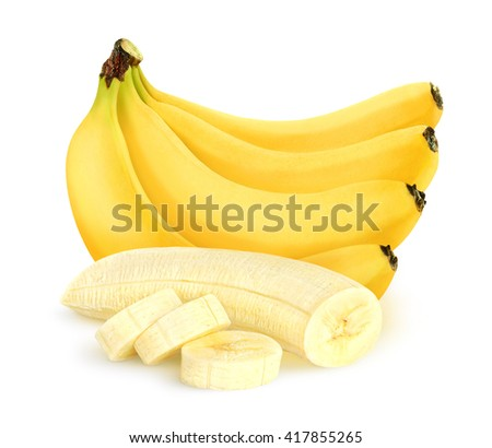 Isolated cut peeled bananas. Bunch of bananas isolated on white background with clipping path - stock photo