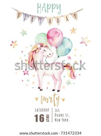 Isolated cute watercolor unicorn invitation card em ilustrao stock isolated cute watercolor unicorn invitation card nursery unicorns illustration princess unicorns poster trendy stopboris Choice Image