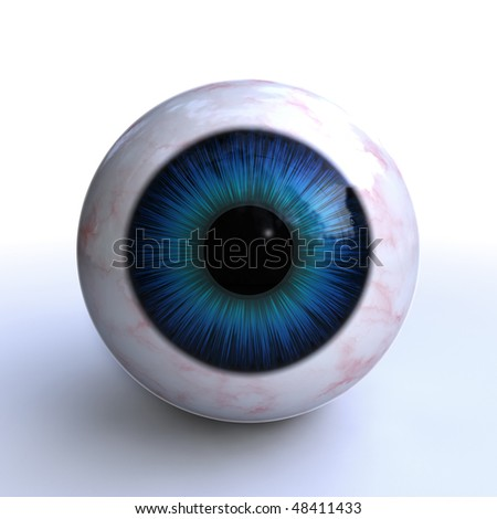 isolated 3d blue eye on white background - stock photo