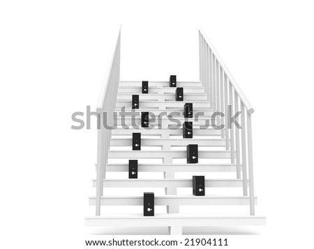 isolated 3D cpu on stairs on an isolated white background - stock photo