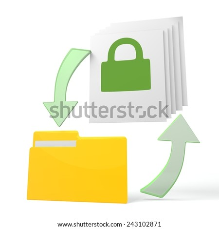 isolated 3d file folder with secure symbol on documents with symbol for upload and download - stock photo