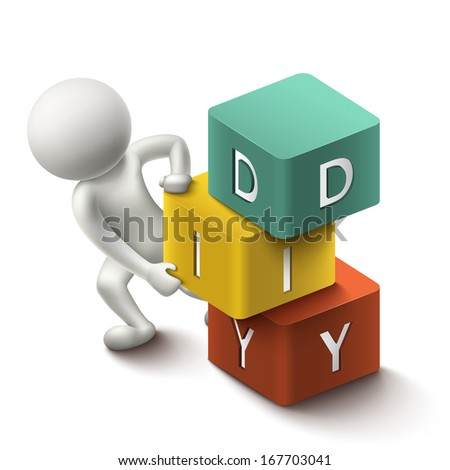 isolated 3d human and word DIY cubes with white background